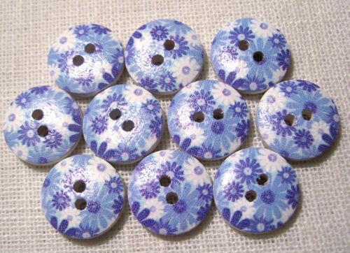 FLEURS Ton Bleu 15//103 BOUTON BOIS ROND ** 15 mm ** Qté x6 ou x10