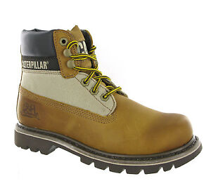 CAT-Caterpillar-Colorado-Capa-cuero-marron-Unisex-Botines-uk-4