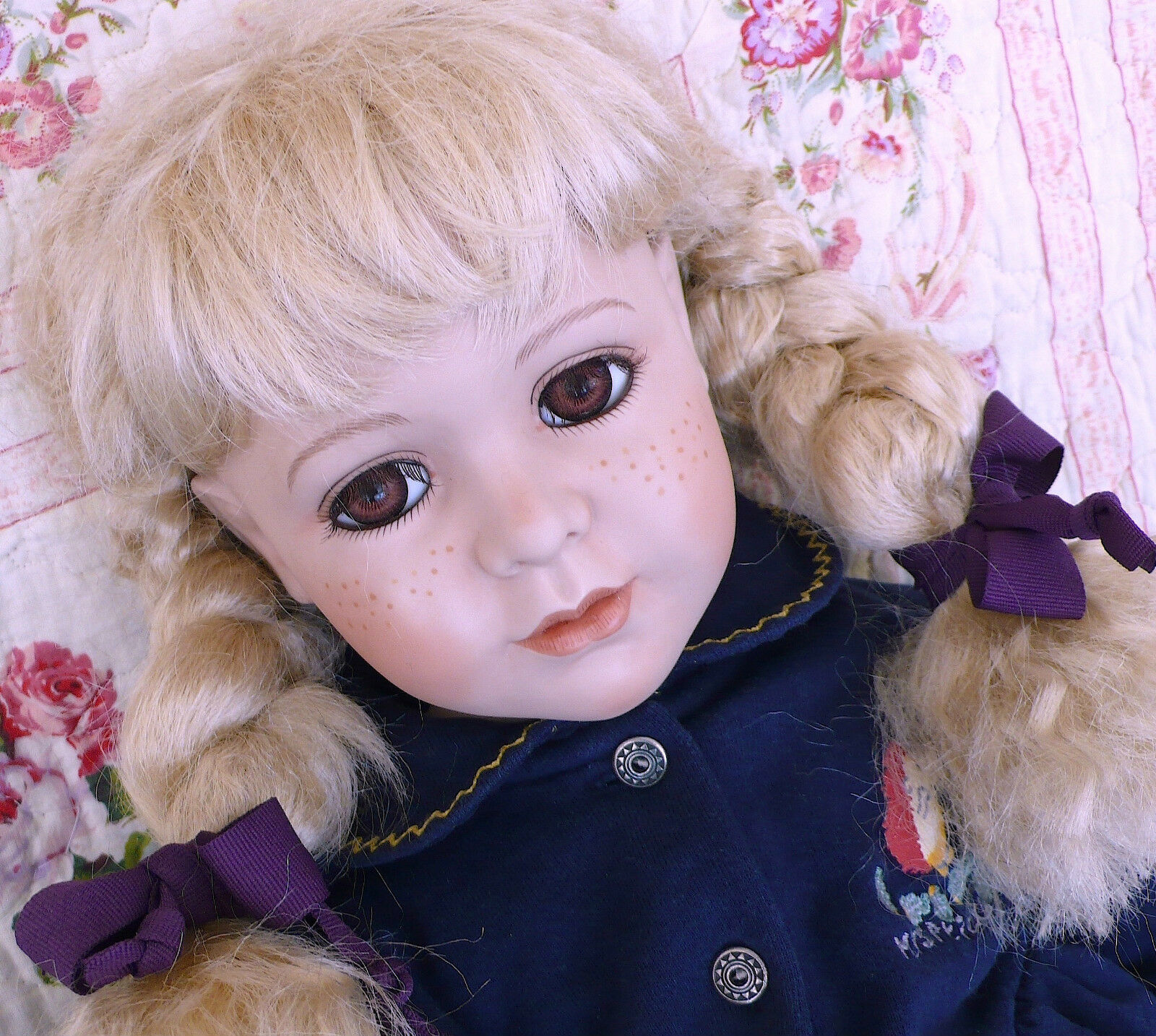 "Vintage Beautiful Large 72cm 28"" Sitting Porcelain Ceramic Life Like Play Doll"