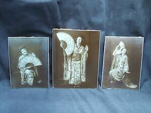 Set-Of-3-Vintage-Sepia-Board-Mounted-Photographs-Ladies-In-Japanese-Costumes