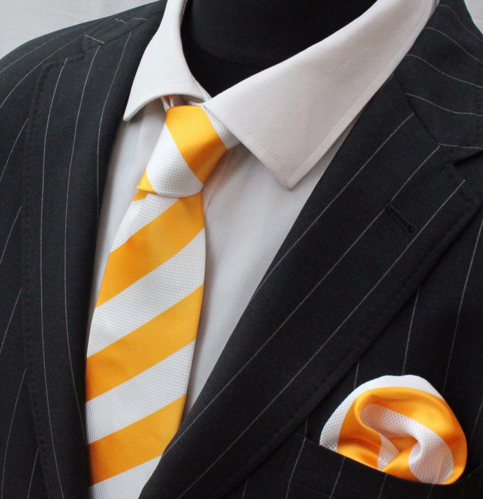 Men's Tie & Handkerchief Set Yellow & Pure White Broad Stripe LUC258