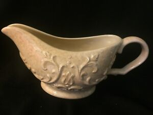 Daniel-Cremieux-PROVENCE-Gravy-Boat-Dish-Bowl-Stoneware-Embossed-Scroll