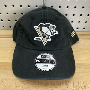 Pittsburgh Penguins NHL New Era 29TWENTY Size LARGE Flex Fit Hat BLACK NOS Cap