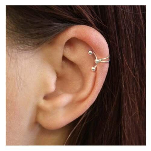 925 Sterling Silver Ball Ear Cuff