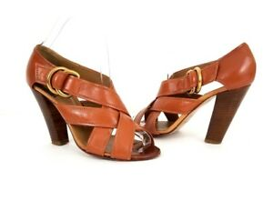 dde7ec8d5f0 Image is loading CHLOE-Cognac-Brown-Leather-Crossover-Strap-Sandals-Sz-