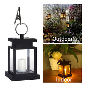 Solar Powered LED Candle Light Indoor /& Outdoor Garden Lantern Hanging Lamp
