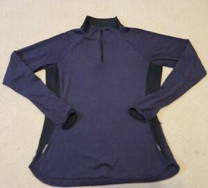 REI Co-Op Top Pullover Light Weight Base Layer 1/4 Zip Sz Large Dark Blue.