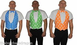 Backless-Waistcoat-Bow-Tie-Dicky-Fancy-Dress-Party-Bright-Vivid-Colours-UK-Made