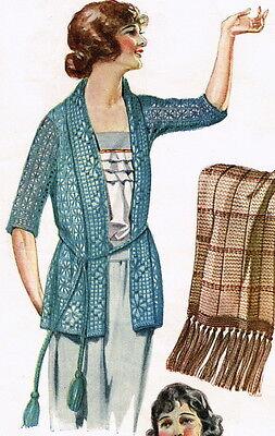 Vintage crochet pattern-how to make elegant lace 1920s Downton Abbey era jacket