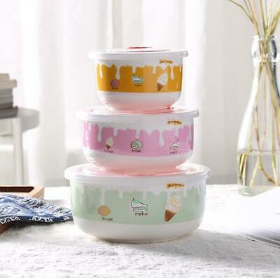 Cute 3 pcs Rose Flower Kitchen Ceramic Food Rice Bowl Storage Containers Set