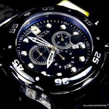 Mens Invicta Pro Diver Scuba Black Steel Chronograph Swiss Parts Watch New