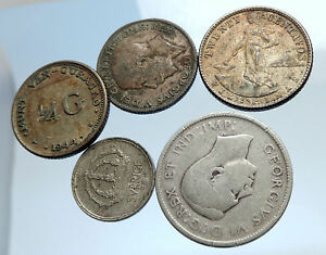 GROUP-LOT-of-5-Old-SILVER-Europe-or-Other-WORLD-Coins-for-your-COLLECTION-i74384