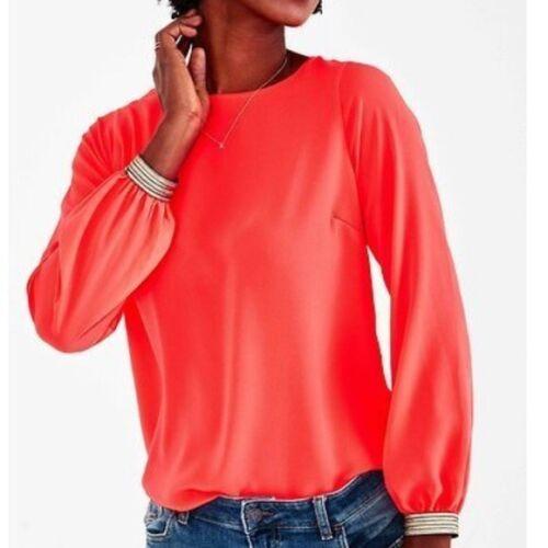 Stella & Dot Soiree Top Blouse Coral Neon Orange S