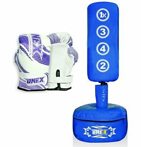 Kids-Children-Free-Standing-Punch-Bag-And-Gloves-Set-Heavy-Duty-Kick-Boxing-MMA