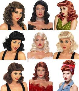 Ladies-Womens-1940s-Wig-WW2-Hollywood-Landgirl-Pin-Up-Fancy-Dress-Costume-Hair