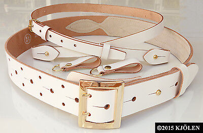 GOLD SILVER BRASS MILITARY BUCKLE SAM BROWN TWIN DOUBLE PRONG HOLE BULLHIDE BELT