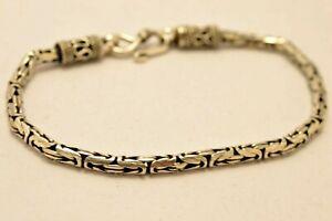 Massiver-925-Sterling-Silber-Bali-Kette-byzantinische-Armbaender-verschiedene-Laengen-amp-Groessen