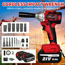 12 520nm Electric Cordless Impact Wrench Gun Brushless Drill With Batterycase