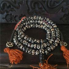 8mm Tibetan Buddhism 108 bone Mantra OM Mani Padme Hum Prayer Bead Mala Necklace