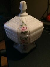 Vintage Milk glass Pink Roses gold trim hand Painted gold trimmed Candy Dish