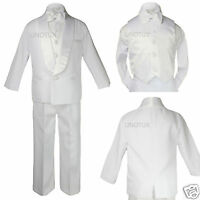 Baby Toddler Boy Communion Party Formal Shawl Satin Lapel Tuxedo White Suit S-20