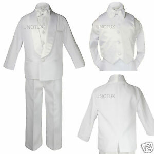 Baby Toddler Boy Communion Party Formal Shawl Satin Lapel Tuxedo White Suit S-20