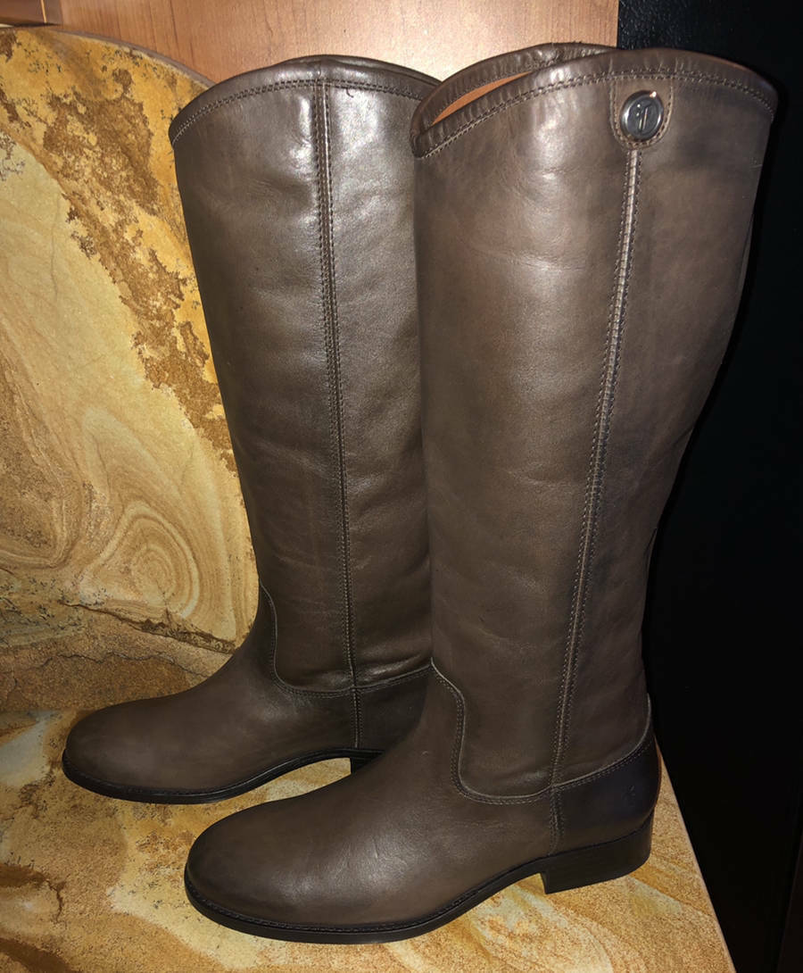 NewFrye Leather Tall Shaft Riding BootsMelissa Button Button Button 2Smoke7.5 96aae7