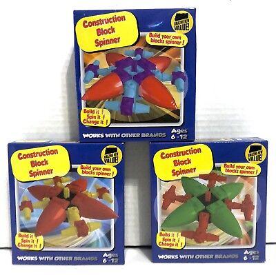 Lot Of 3 Construction Building Block Fidget Spinner Toy Creative Gift 61  Pcs Ea  | eBay
