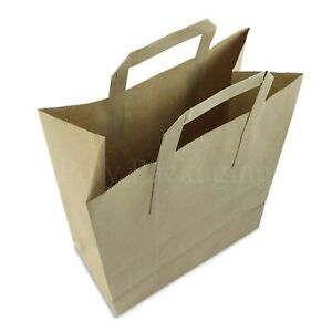 """50 x (10x5.5x12.5"""")Large BROWN PAPER CARRIER BAGS with HANDLES Sandwich/Lunch"""