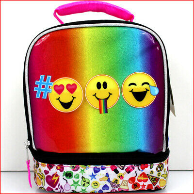NEUF * Emojination Rainbow Double Compartiment Boîte Déjeuner Sac-Emoji amour heureux Silly
