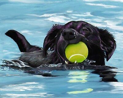 ACEO BLACK LAB LABRADOR Dog Art PRINT Painting by VERN