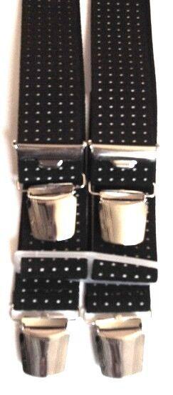 Hosenträger schwarz mit Punkten, 4 starke ABC-Klips,120 cm lang,35 mm breit