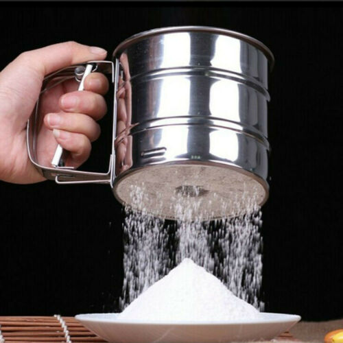 Powerful Handheld Flour Sifter Stainless Steel Icing Sugar Mesh Sieve Cup Baking
