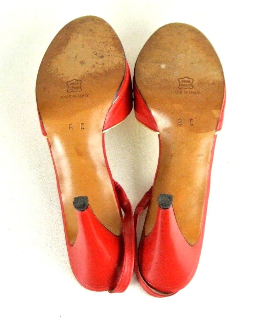 Kurt Geiger Slingback Heels 8C Red gold Leather Leather Leather Open Toe Pumps Formal  1008 e9c964