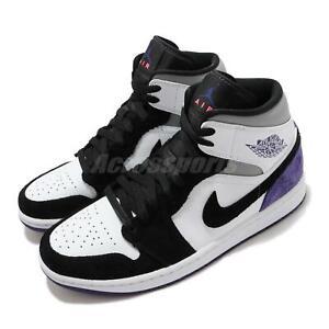 Details about Nike Air Jordan 1 Mid SE Varsity Purple White Black Grey Men Shoes 852542-105