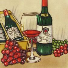 """Dipinto a mano ceramica Muro Piastrella """"VINTAGE WINE"""" DA Blossoms & Fiocchi 8 """"x 8"""" in box"""