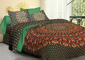 Indian Mandala Queen Bed Sheet Tapestry Bedding Set Throw With 2 Pillow Cover