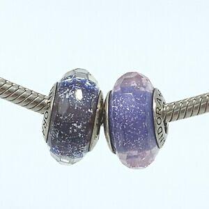 2-Authentic-Pandora-Murano-925-Purple-Iridescent-Glass-Bead-Charms