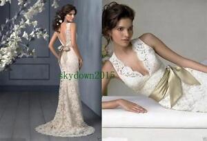 Ivory-Lace-Train-Straps-V-neck-Customize-Wedding-Dress-2-4-6-8-10-12-14-16-Hot-1