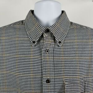 Orvis-Mens-Blue-Brown-Windowpane-Check-Casual-Heavy-Cotton-Button-Shirt-Large-L