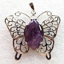 44x42x6mm Red Agate Plated-silver Butterfly Pendant Bead LL5657