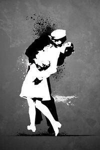 BANKSY-WAR-039-S-END-KISS-91-x-61-cm-36-034-x-24-034-GRAFFITI-ART-POSTER