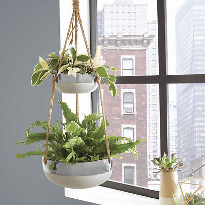 Outdoor Double Hanging Planter Pot Indoor Flower Plant Bed Garden Basket Pots Ebay