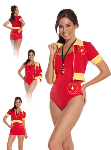 Beach Patrol Lifeguard Costume Baywatch Swimsuit Whistle Jacket Shorts Red 9610