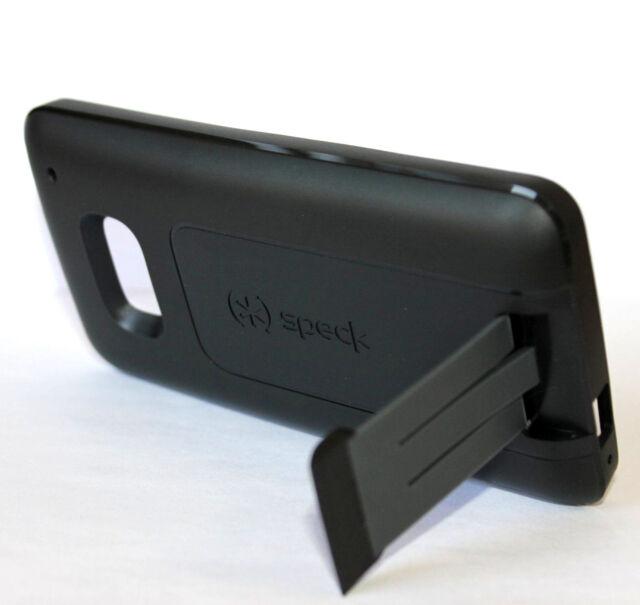 For HTC ONE M7 - SPECK SmartFlex Kickstand Hard & Soft Rubber Skin Case Black