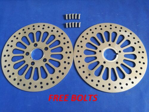 "11.5/"" Front Brake Rotor Dual Super Spoke Polished For 1984-2013 Harley Touring"