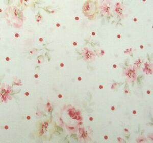 Cottage-Shabby-Chic-Lecien-Durham-Quilt-Roses-Floral-31927L-10-Cream-BTY