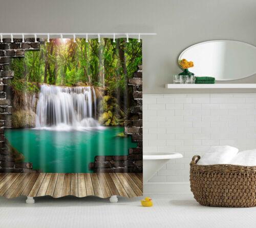 3D Nature Cascade Paysage imperméable rideau de douche salle de bain en polyester decor