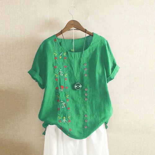 Ladies Women Casual Linen T-shirt Loose Button Blouse Tops Plus Size M-5XL
