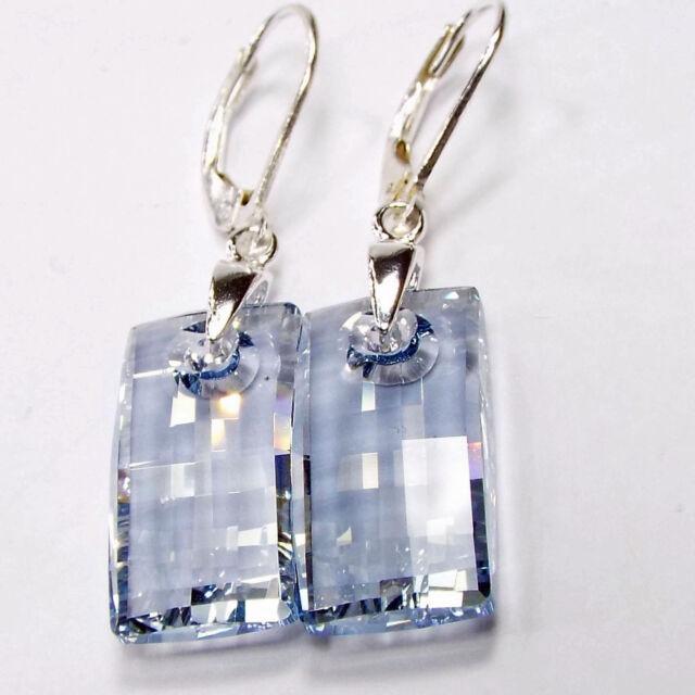 Damen Ohrringe 925 Sterling Silber Swarovski Kristalle Hänger Blau